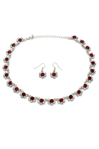stylish cherry crystal necklace earrings set