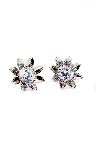 charming square crystal silver earrings