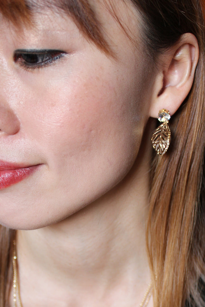Noble gold leaf crystal earrings