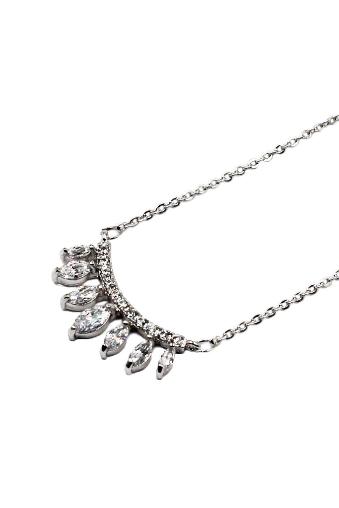 Small silver crystal stone necklace
