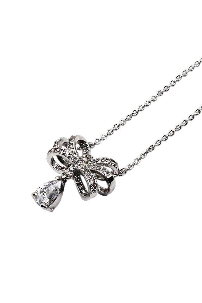 Bowknot silver drop necklace