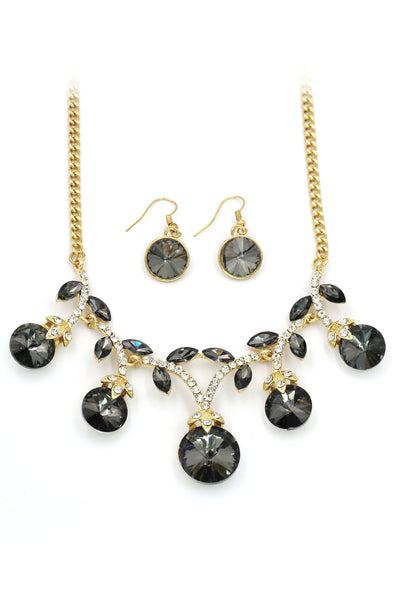elegant sparkling crystal necklace earrings set