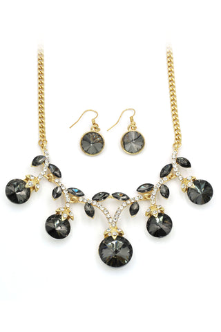 fashion double crystal necklace earrings set