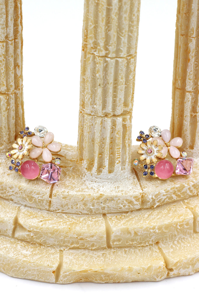 beautiful crystal flower earrings
