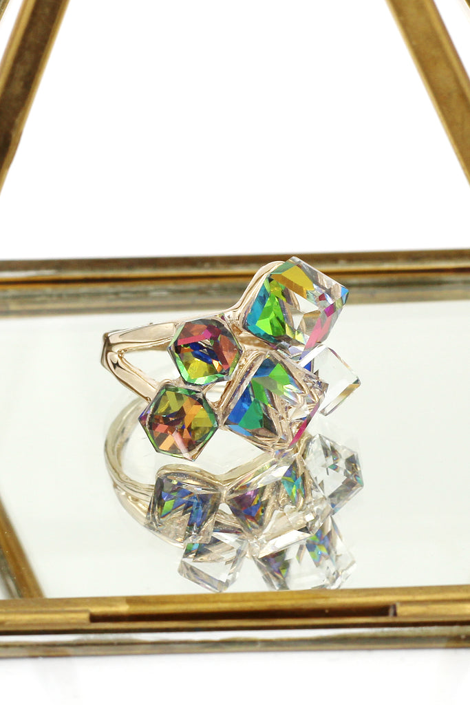 colorful Phantom Crystal Cube Ring
