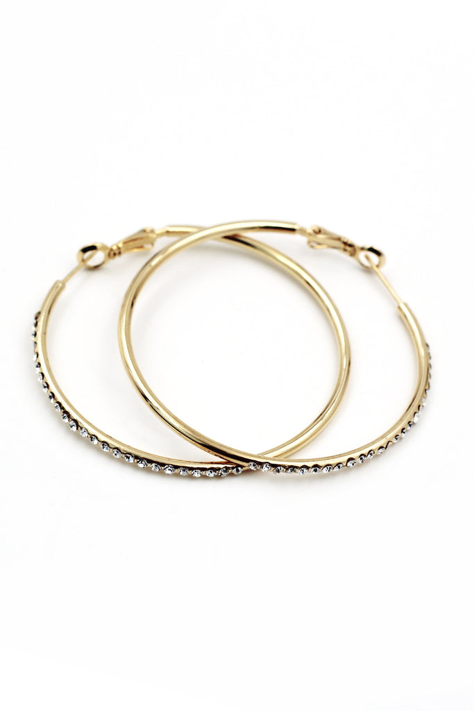 Fashion circle crystal gold earrings