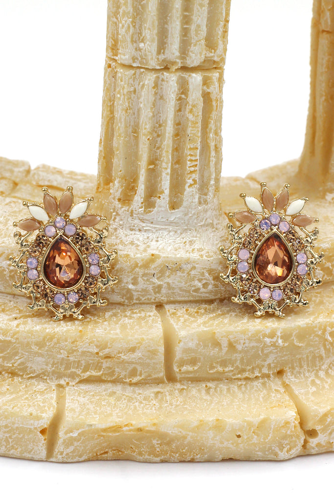 special golden pineapple crystal earrings