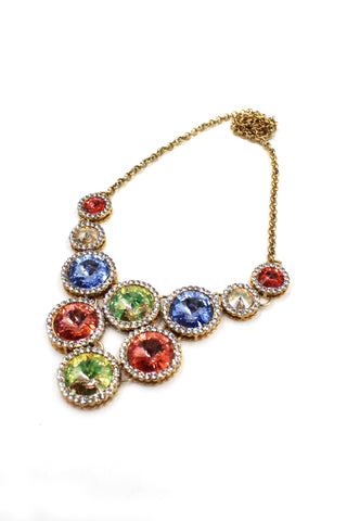 elegant colorful crystal flower necklace earring sets