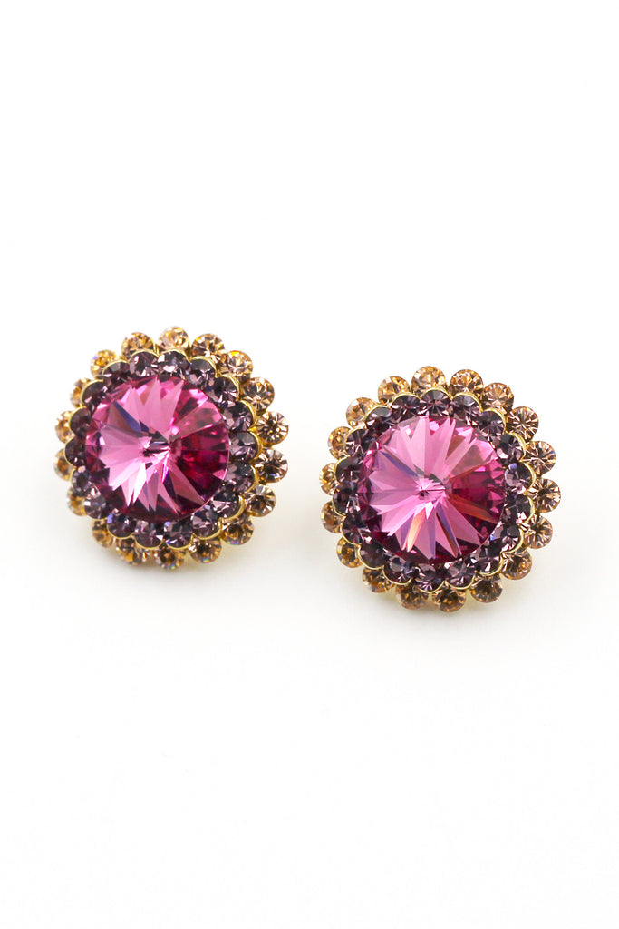 Fashion big pink crystal earrings