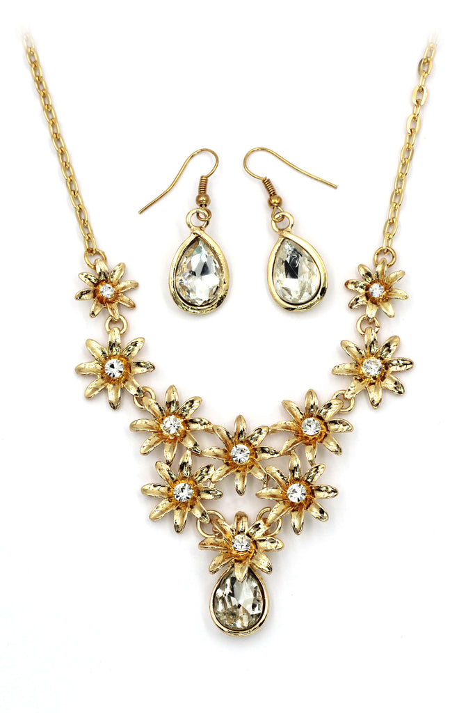 brilliant golden flower crystal necklace earrings set
