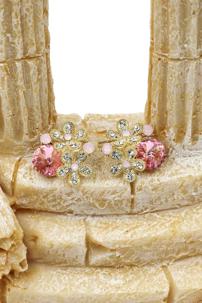 noble pink crystal flower necklace earring set