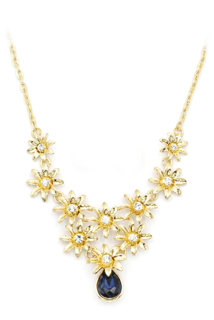 brilliant golden flower crystal necklace