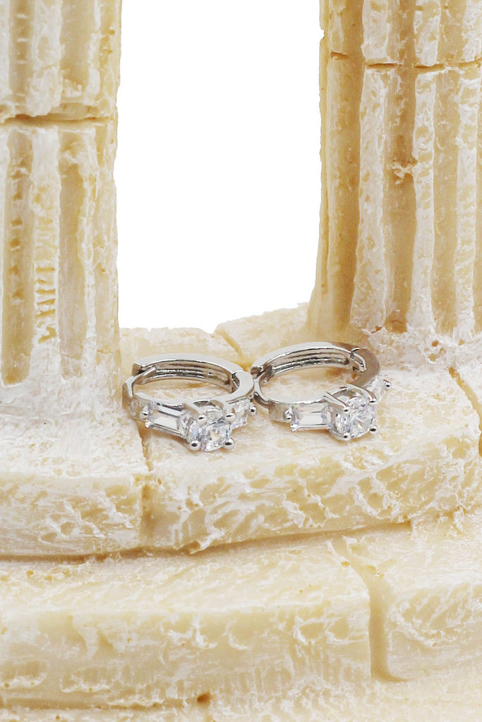 four prong set crystal ring earring set