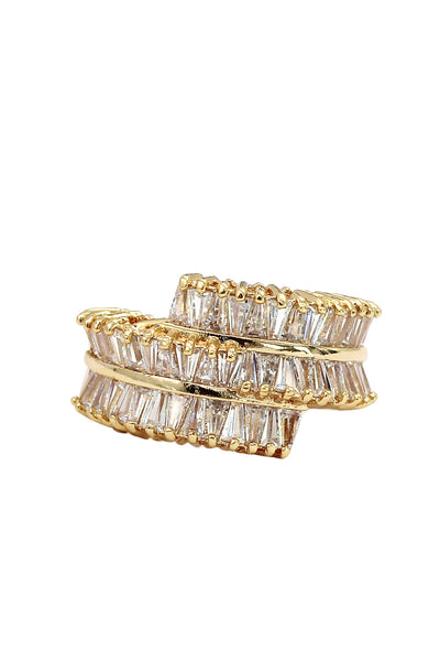 golden three-tiered crystal ring
