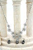 brilliant silver flowers color crystal necklace earrings set