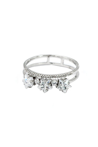 fashion elegant silver crystal ring