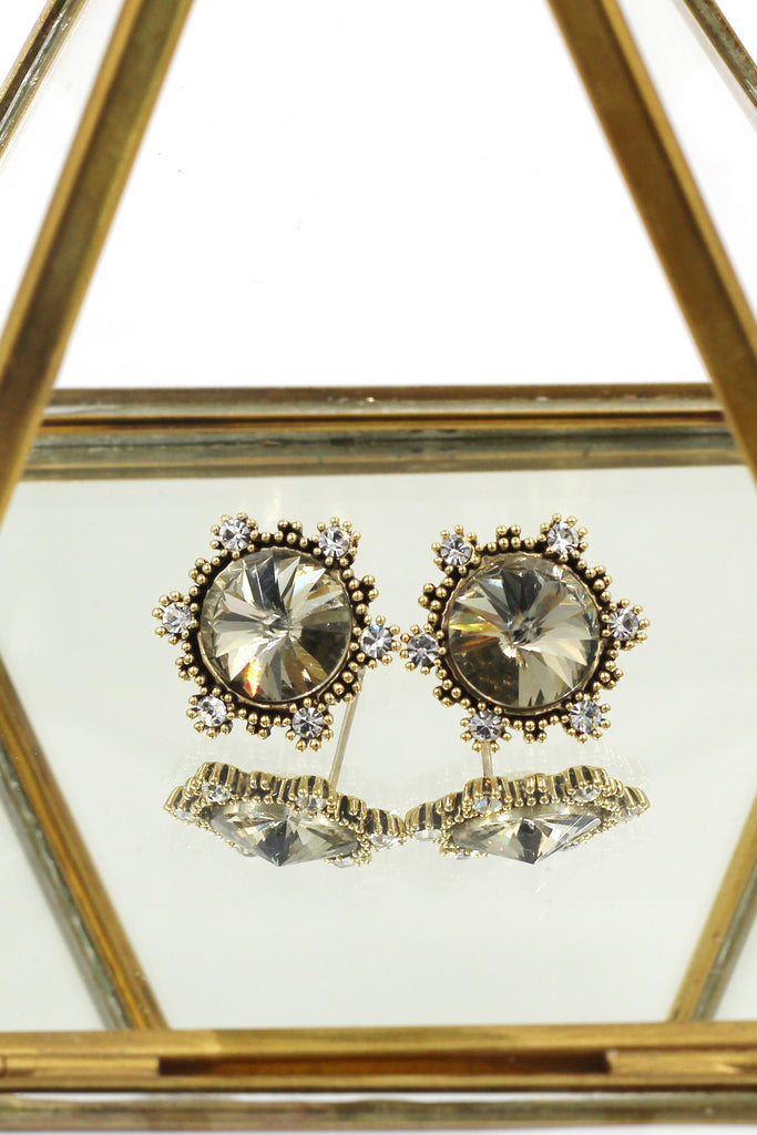 fashion sunflower crystal golden earrings