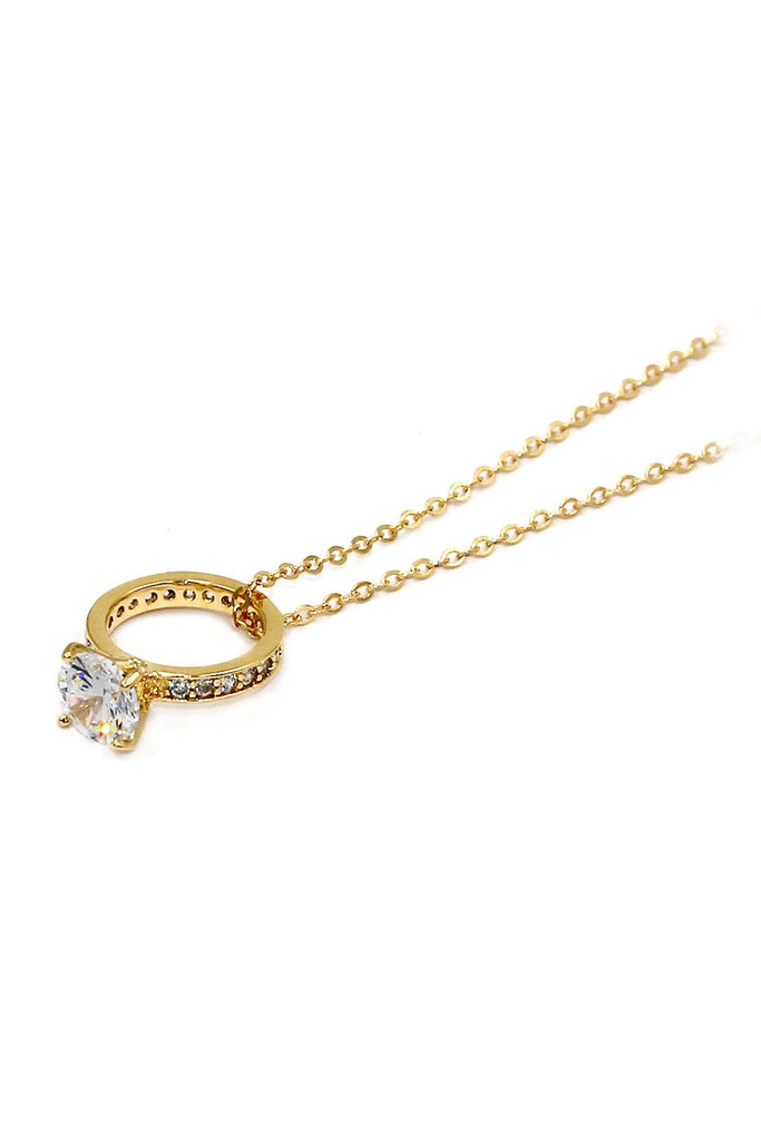fashion crystal ring pendant necklace
