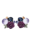 mysterious flower purple crystal ball earrings