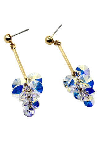 Golden flower pearl earrings
