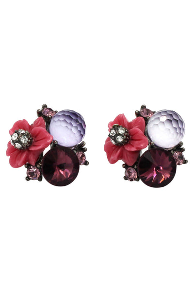 pretty shells flower crystal earrings