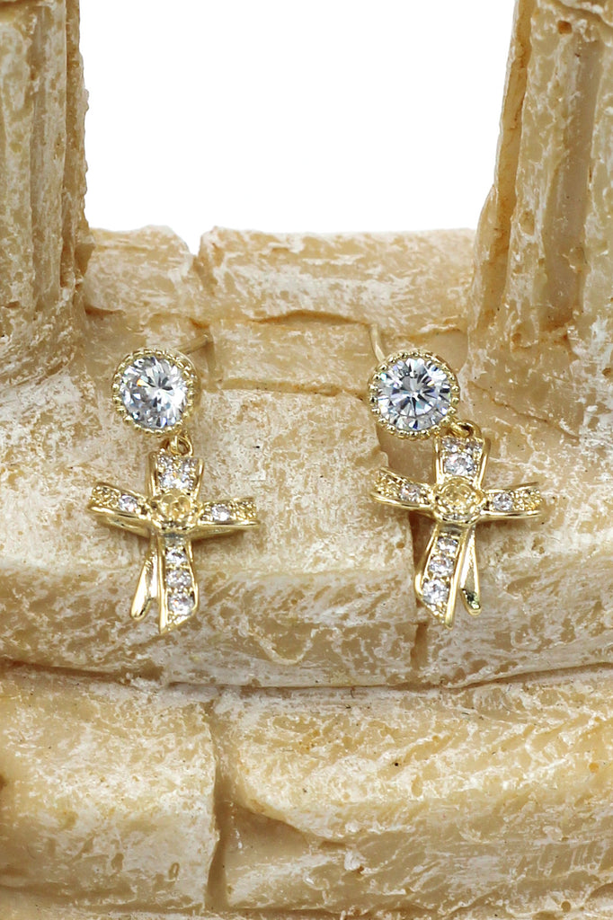 fashion ribbon cross crystal pendant earrings