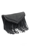 fringed suede shoulder small purse