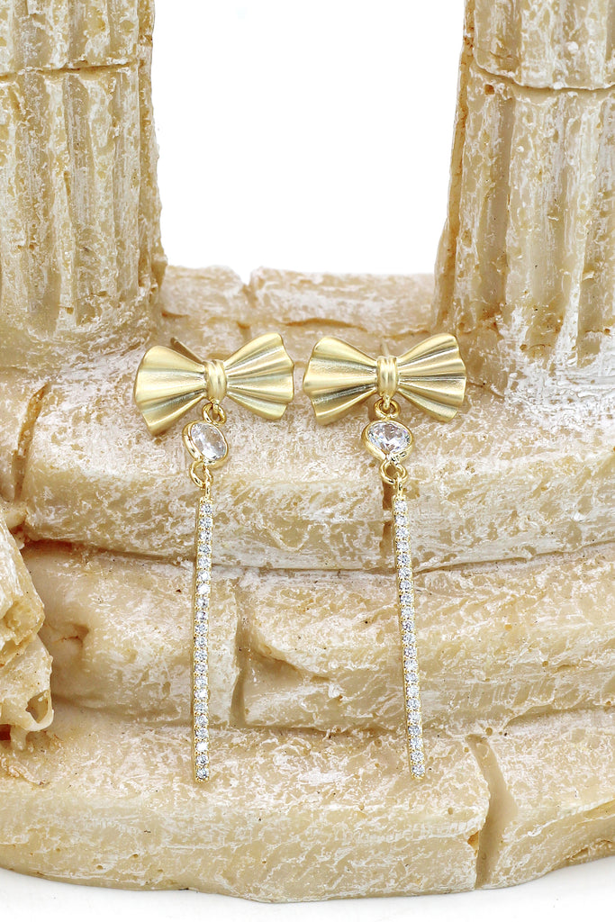 bow tassel flashing crystal earrings