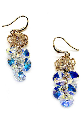 lovely crystal ball and flower earrings