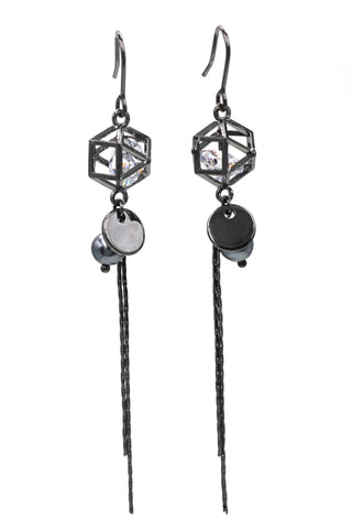 noble water droplets pendant silver earrings