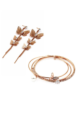 fashion crystal swan earrings bracelet set