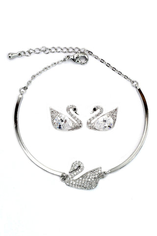 elegant fashion crystal earrings bracelet set