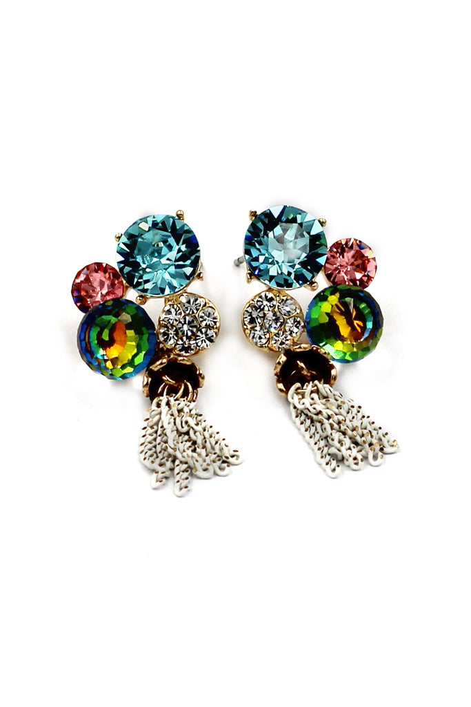 Lovely color gems crystal earrings