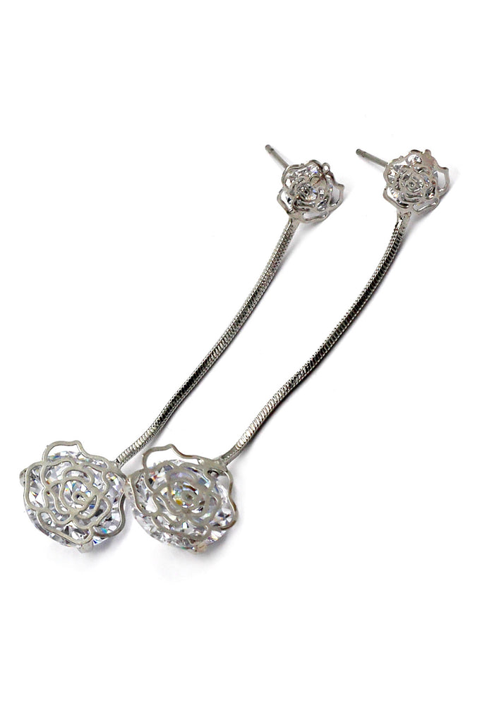 Silver Rose Crystal Pendant Earrings