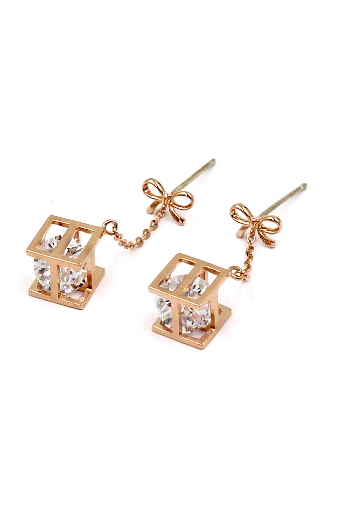 Golden Mini bowknot Crystal Pendant Earrings