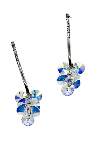 sweet flower side crystal earrings