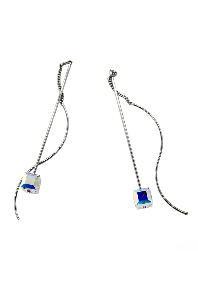 simple cubic swarovski crystal silver earrings
