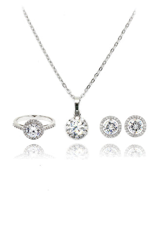 small square crystal earring ring set