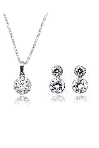 heart crystal key necklace ring set