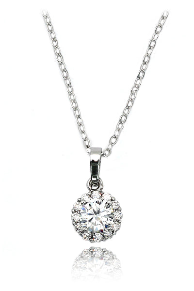 shining cabinet micro crystal silver necklace