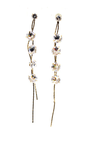 square blue crystal wire earrings