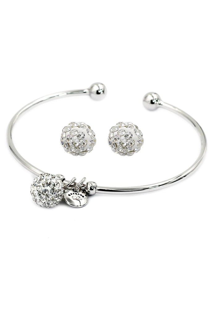 mini ball crystal earring bracelet set
