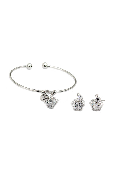 silver crown crystal bracelet earring set