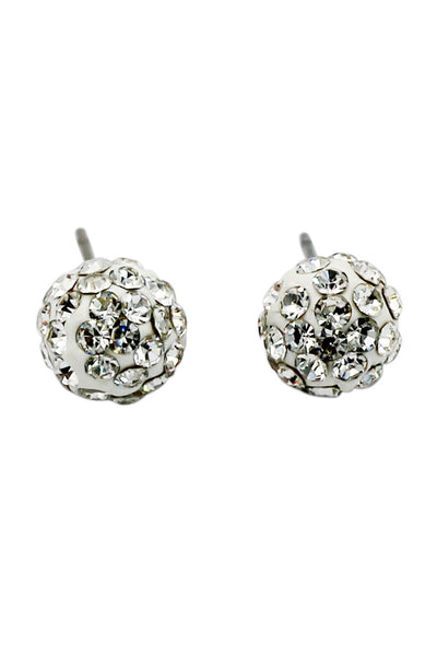 fashion white ball crystal earrings
