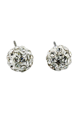 mini circle crystal silver earrings