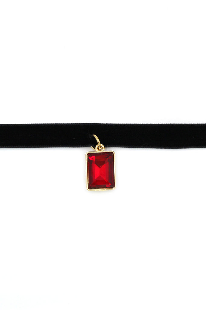 ladies plush belt pendant square crystal choker