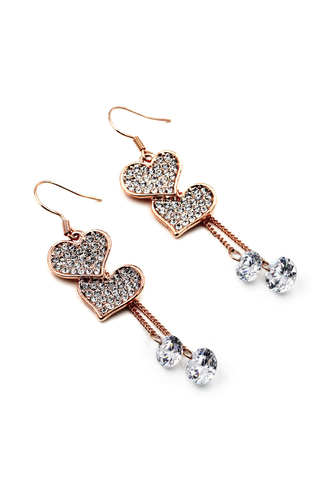 Love shape crystal earrings