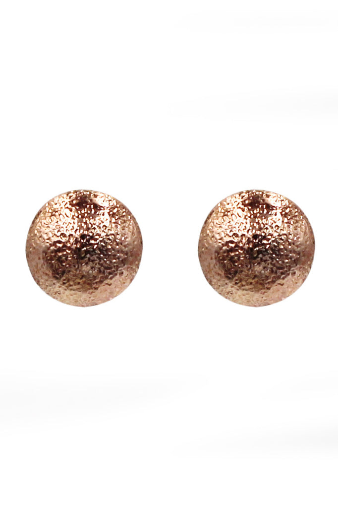 simple small shield rose gold earrings