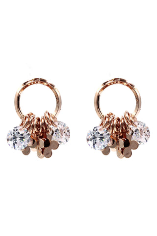 fashionable crystal flower and circles earring