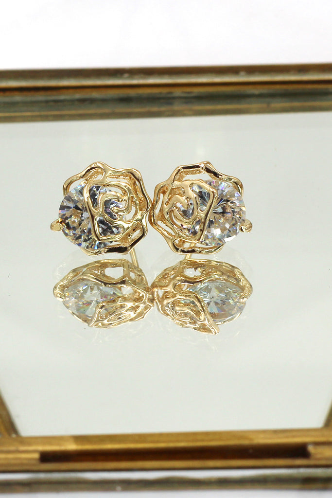 fashion golden rose crystal earrings